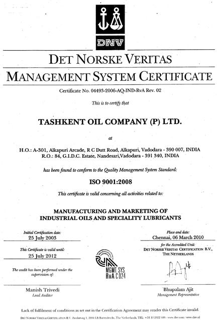 DVN Certificate :: Tashkent Oil Company Pvt  Ltd
